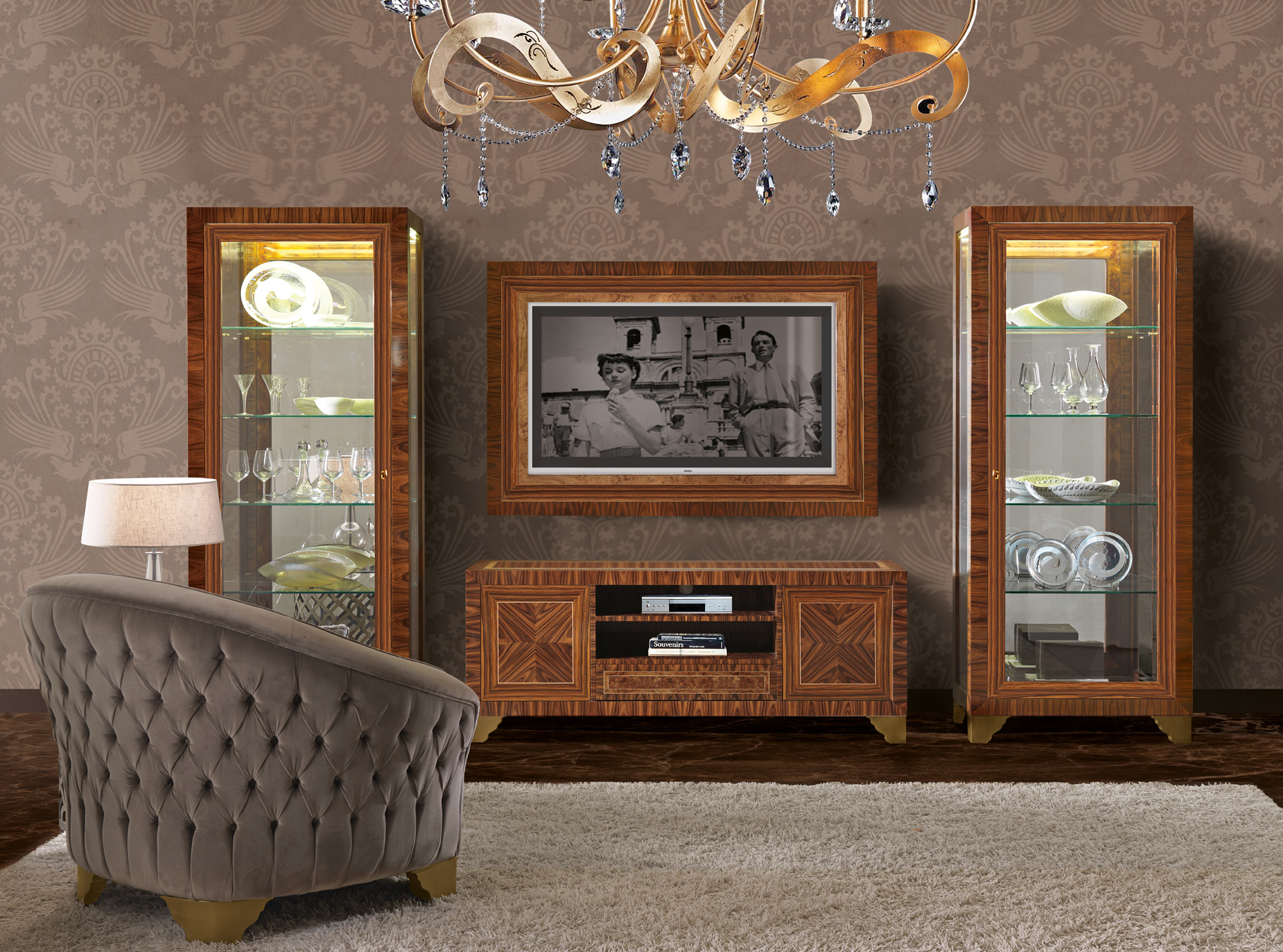 3153 armchair, 3155 tv frame, 3156 tv cabinet, 3157 showcase (2)