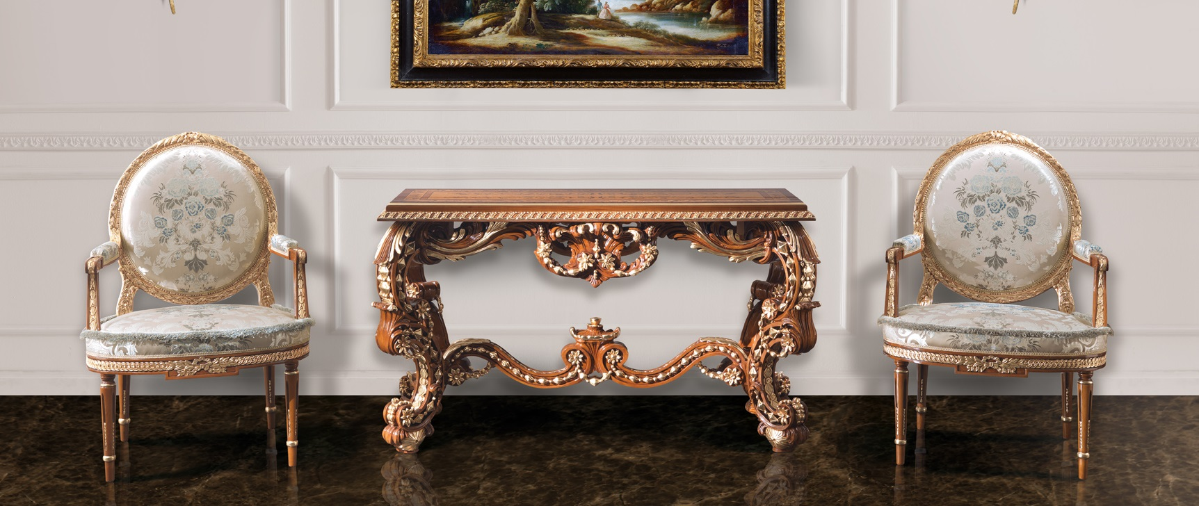 2031 small armchair, 3182 console table
